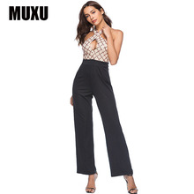 hot deal buy muxu gold glitter patchwork sexy sequin jumpsuit summer rompers womens europe and the united states long jumpsuits backless 2018