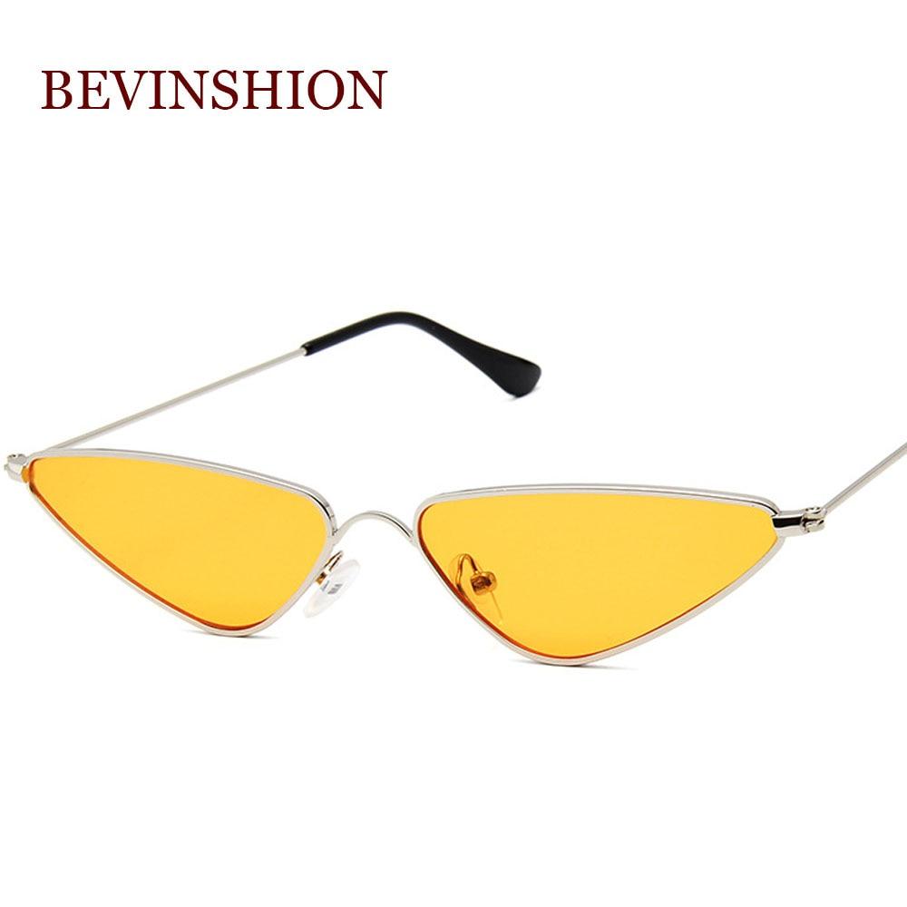 Солнцезащитные очки «кошачий глаз» женские, небольшие трендовые солнечные очки в винтажном стиле с треугольными линзами, металлические, кр...