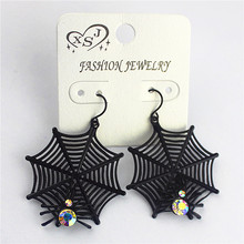 Hot new fashion gorgeous female jewelry wholesale Girls Birthday Party beautiful black spider net Earrings FREE SHIPPING