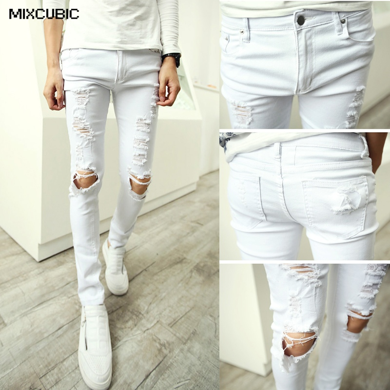 mixcubic 2015 new autumn washed knee scratched hole jeans. Black Bedroom Furniture Sets. Home Design Ideas