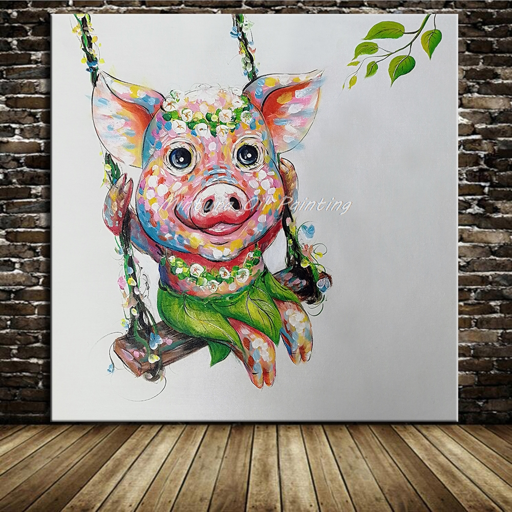Mintura Original Hand Painted Piggy Oil Painting on Canvas Modern Abstract Pop Art Animal Wall Art Pictures For Kid's Room Decor