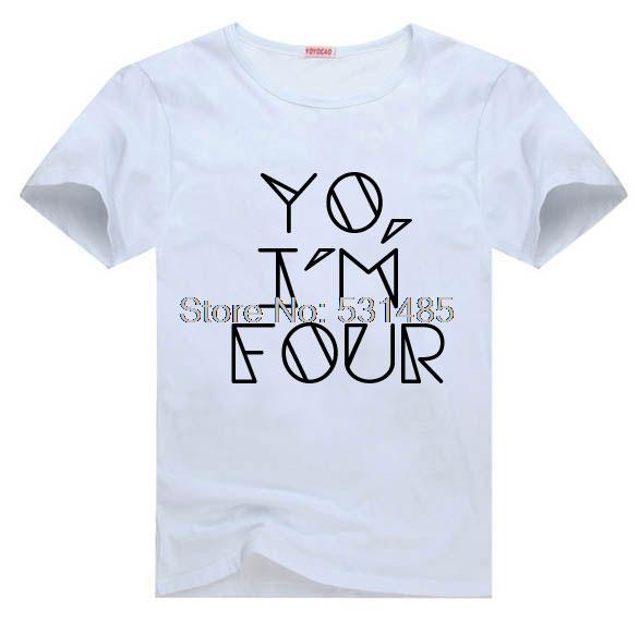 YO IM FOUR Fourth Birthday Shirt Personalized Toddler Trendy Kids Clothes Hipster Tee