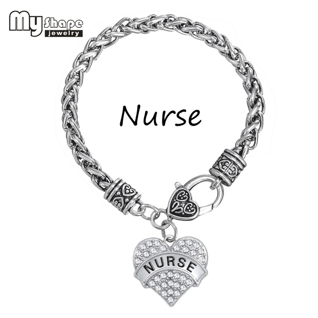 My Shape Nurse Reciation Funky Bracelets Engraved Jewelry Crystal Paved Heart Charm Medical Gift Thick