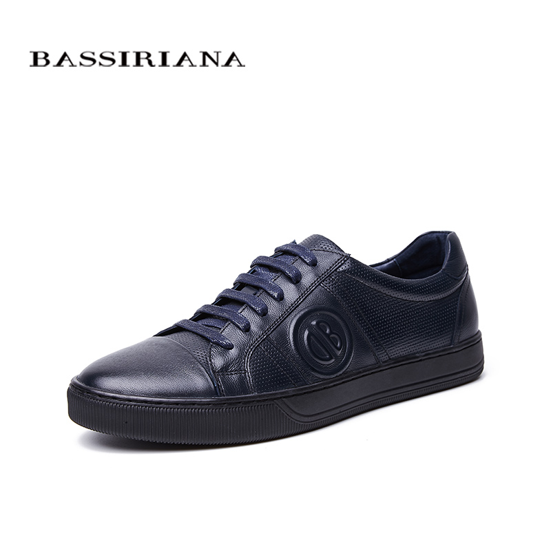 BASSIRIANA New 2018 Genuine cow Leather men casual shoes lace up comfortable round toe blue spring autumn 39-45 size handmade front lace up casual ankle boots autumn vintage brown new booties flat genuine leather suede shoes round toe fall female fashion