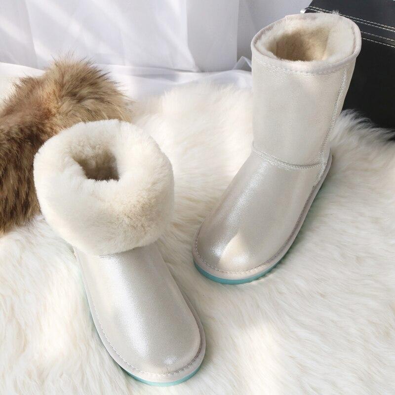 Brand Sheepskin Boots Women Natural Wool Winter Sheep Fur Snow Boots Mid Calf Warm Boots Warm