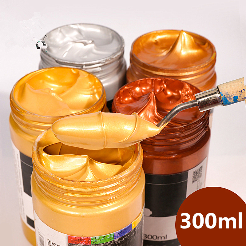 300ml Acrylic Paint Wall Painting Painted Hand-painted Graffiti Diy 3D Metal Color Buddha Statue Waterproof Gold Silver Pearl