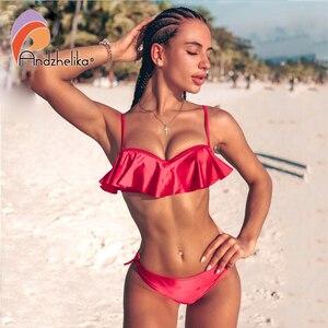 Image 2 - Anadzhelia biquínis femininos sensuais, estilo folha de lótus, conjunto de roupa de banho estilo brasileiro, maiô estilo push up com três peças de natação