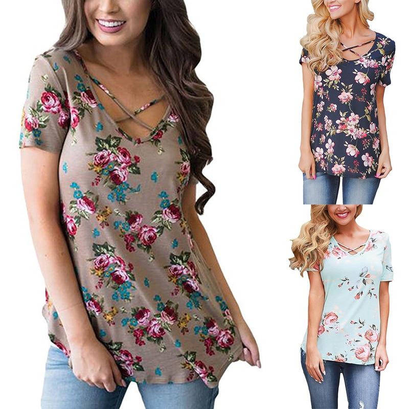 8e4dbc9d1c23 Повседневная мода Boho Цветочный шифон 2019 летние рубашки женские топы и  блузки Женская туника для женщин