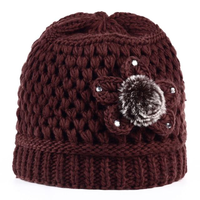 579149717764b Clássico Flores Grosso cashmere cap Gorro De Pele de Inverno das Mulheres  Primavera Outono Chapéus Feminino