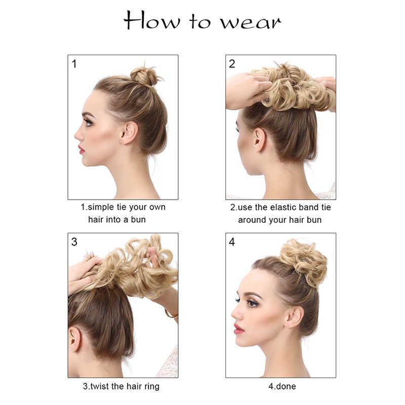 Sintético falso cabello Chignons pelo para las mujeres elástico gomas de pelo bollo de pelo cola peinado Afro Cola de Caballo accesorio
