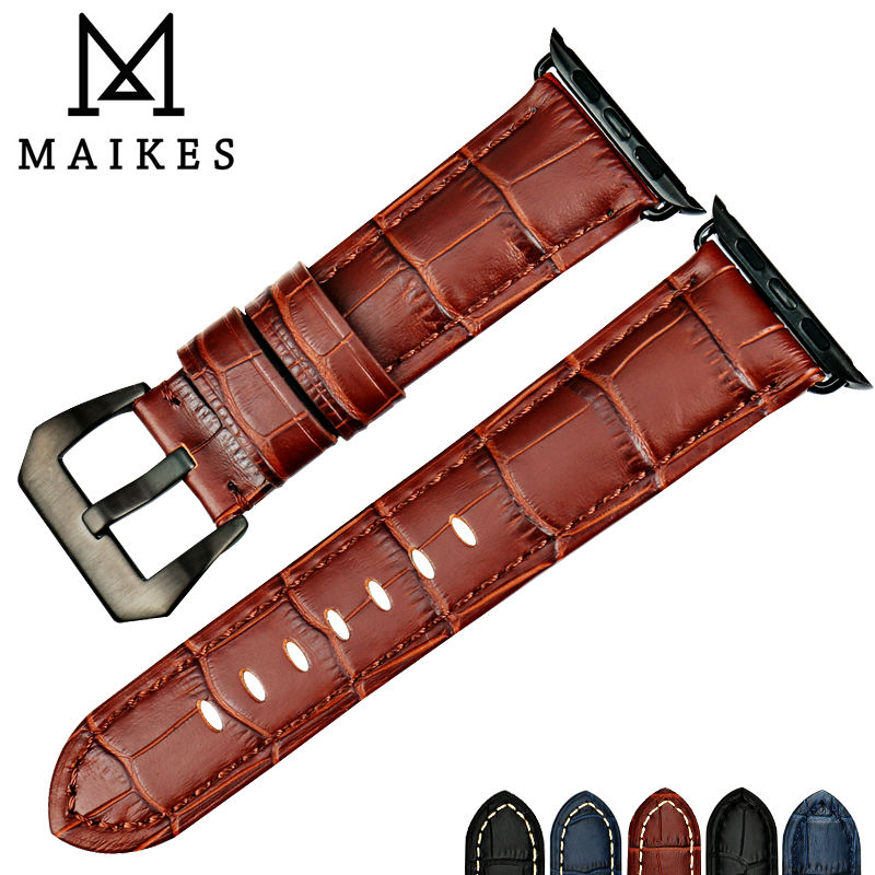 MAIKES watch accessories watchbands Brown genuine leather bracelet apple watch strap for Apple Watch Band 42mm 38mm iwatch maikes 18mm 20mm 22mm watch belt accessories watchbands black genuine leather band watch strap watches bracelet for longines