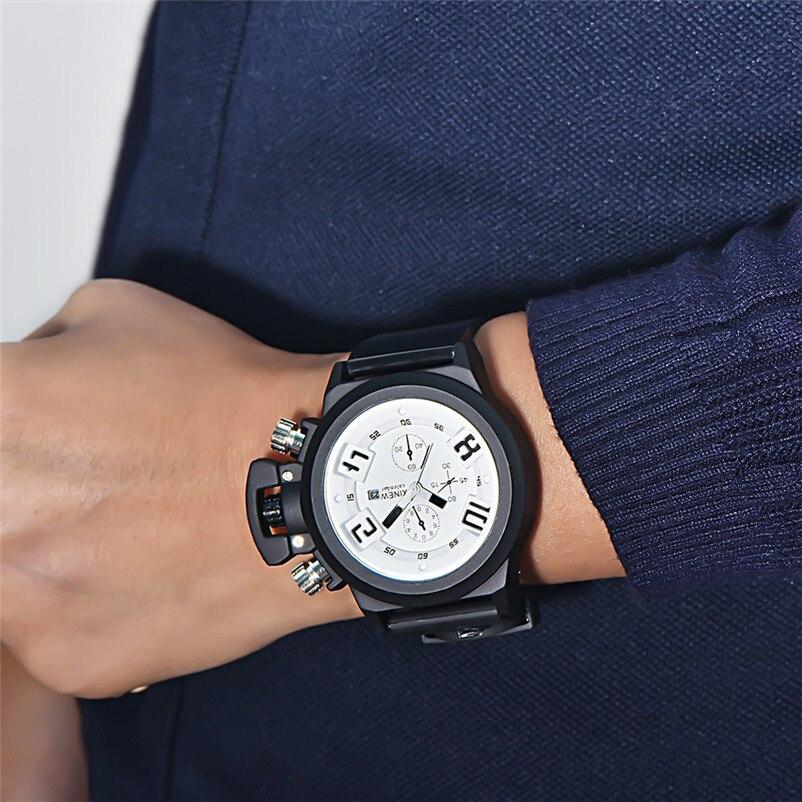 2018 NEW Mens Watch Fashion Silica Sport Date Chronograph Analog Quartz Wrist Watch Waterproof relogio masculino free shipping цена