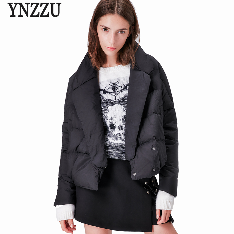 YNZZU 2017 Autumn Winter Womens   Down     Coat   Elegant Turn   Down   Collar 90% White Duck   Down     Coat   Short Thick Warm Female Jacket AO377