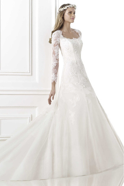 Modern white ivory square neck ball gown long sleeve lace wedding ...