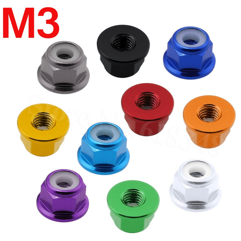 8pcs  Aluminum Flange M3 Lock Nuts Nylon Self-Tightening Colorful Anodized RC Models Hardware Parts