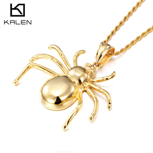 Kalen fashion jewelry high quality stainless steel italian gold kalen fashion jewelry high quality stainless steel italian gold color huge heavy animal spider pendant necklace mozeypictures Gallery