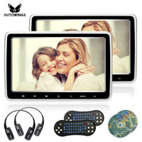2x 10.1 Inch 1024*600 Car Headrest Monitor DVD Player USB/SD/HDMI/FM/Game TFT LCD Screen Touch Button Support Wireless Headphone