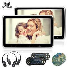 Monitor com Suporte para Carro 1024*600 2x10.1 Polegadas, Suporte com Botão de Toque, Tela LCD TFT USB/SD/HDMI/FM/Jogo Tocador de DVD, Fone de Ouvido, Wireless