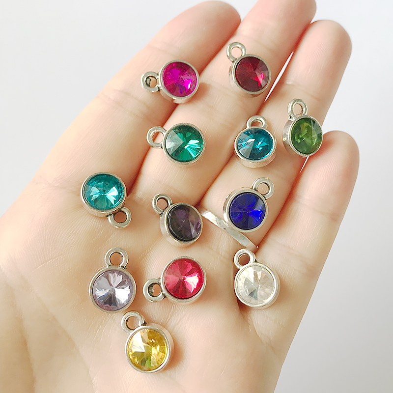 12pcs/lot Birthstone Crystal Charm From Jan to Dec all in one lot DIY Rhinestone Charm Birthstone for Making Pendant & Earrings