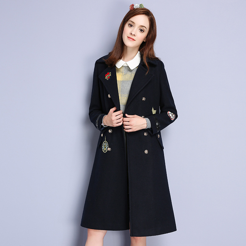 New Arrival 2016 Winter European Women's Double Breasted Lapel Suit Collar Embroidery Wide-waisted Long Woolen Coat Casaco vesti