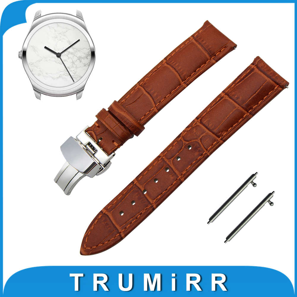 20mm First Layer Calf Genuine Leather Watch Band Quick Release Strap for Ticwatch 2 42mm Butterfly Buckle Wrist Belt Bracelet first layer genuine leather watchband 20mm 22mm for iwc watch stainless buckle strap quick release band wrist belt bracelet