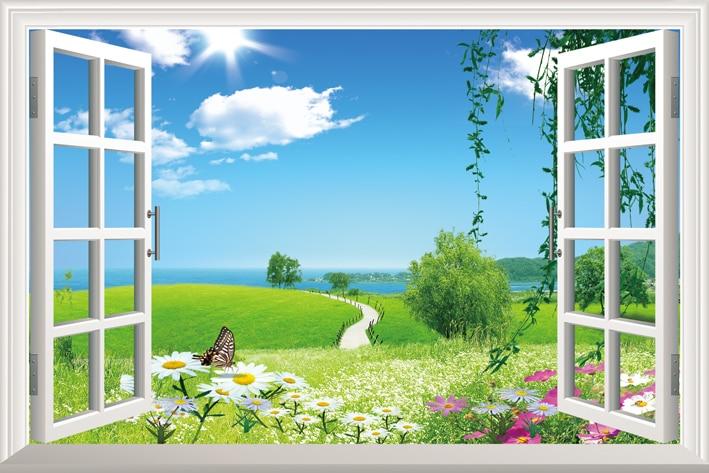 Diy window scenery outside fake windows sticker 70 46cm for Sofa 70 cm de fondo