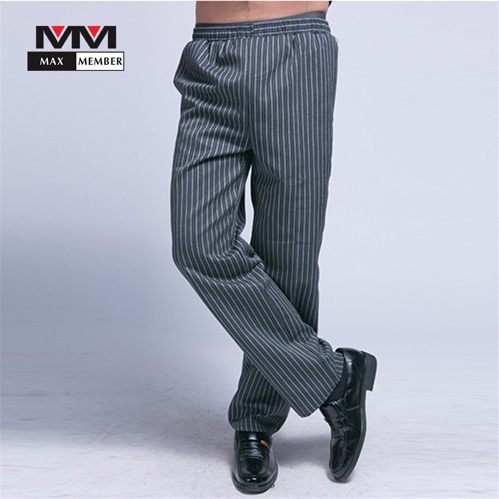 Men Striped Elastic Waist Cozinha Hotel Work Pants Long Trousers Casual Comfy Chef Kitchen Wear Clothes M-3XL