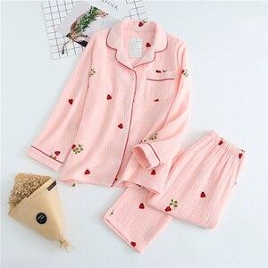 Image 2 - 2019 New Ladies Pajamas Set Cartoon Ladybug Printed Crepe Cotton Gauze Simplicity 2 Piece Set Women Soft Comfort Household Wear