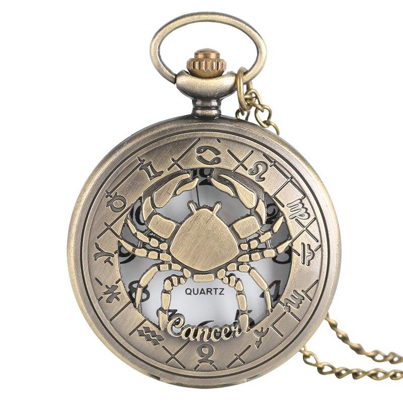 Constellation Quartz Pocket Watch Cancer Design Bronze Half Hunter Fob Clock For Men Women Christams Birthday Gift 2017