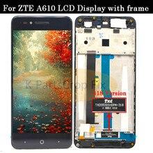 مع الإطار ل ZTE بليد A610 شاشة إل سي دي باللمس شاشة HD محول الأرقام الجمعية ل ZTE بليد A610/A241 نسخة 318 نسخة Lcd