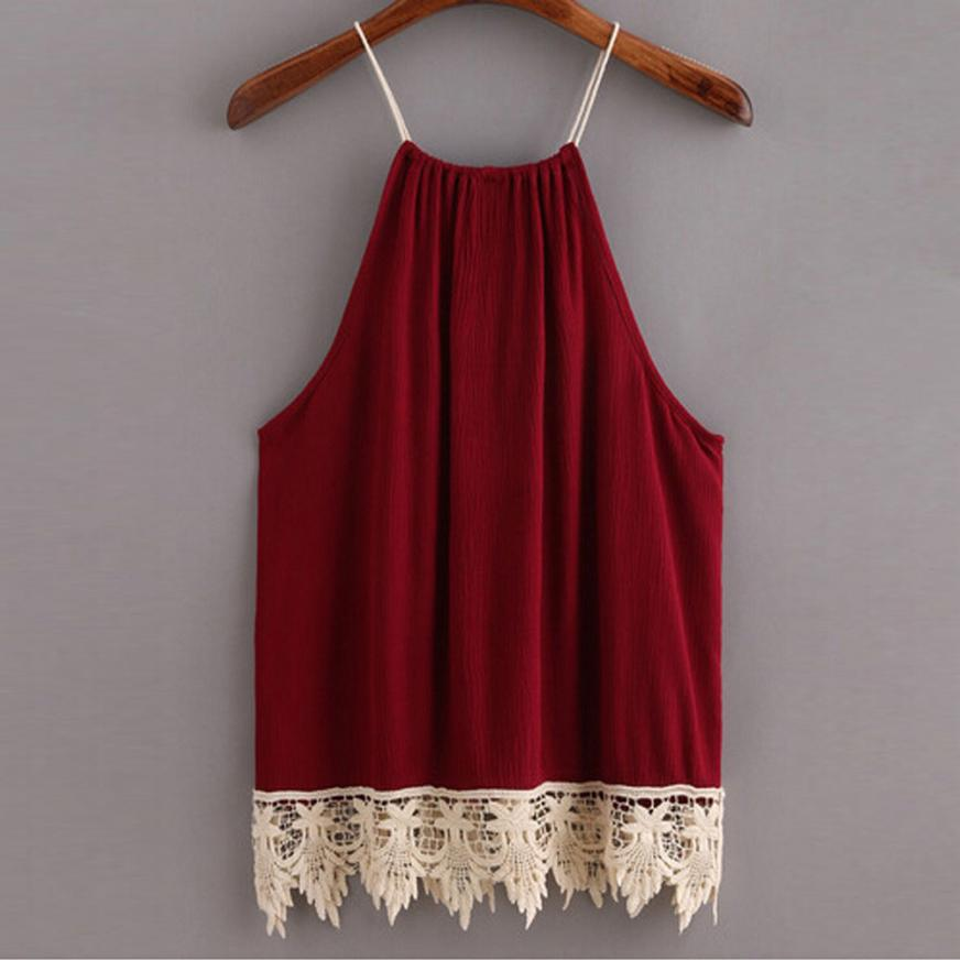 Women Women Lace Trimmed Tasselled Sleeveless Halterneck Tank Crop Tops Vest Blouse Shirt Mar 16