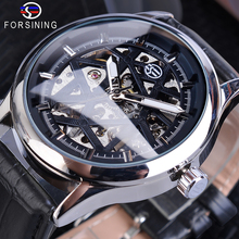 цена на Forsining Mens Black Skeleton Mechanical Watches Leather Strap Hollow Luminous Hand Winding Wristwatch Male Hours Relogio Clock