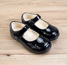 girls school shoes fall PU arch support orthopetic solid black matt shiny for big kids children fromal student mary jane