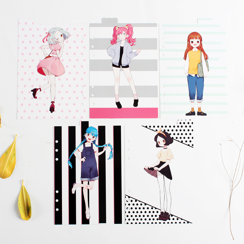 Original creative school student 6 holes spiral notebook binder index dividers accessories stationery,cute index page gift A5 A6 never korean spiral notebook 6 hole loose leaf inside page index page for filofax planner a6 dividers bookmark school stationery
