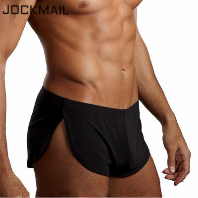 JOCKMAIL Men's Boxer Shorts Pajamas Side Split Gay Underwear Shorts Panties Underpants Trunk Sexy Cueca Homme Fashion Sleepwear
