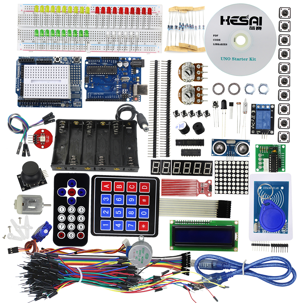 Starter Kit Uno R3 Breadboard and Holder Step Motor / Servo /1602 LCD / Jumper Wire/  With tutorial/ UNO R3 for DIY KITStarter Kit Uno R3 Breadboard and Holder Step Motor / Servo /1602 LCD / Jumper Wire/  With tutorial/ UNO R3 for DIY KIT
