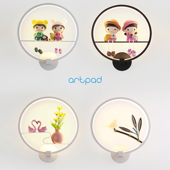 Artpad Chinese Stlye Metal Wall Light Lovely Cartoon Character Flower Dimmable Child Room Living Bedside Lamp lighting
