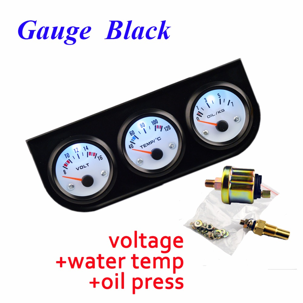 DRAGON GAUGE 52mm Car Gauge Voltage/Water Temperature/Oil Press Gauges Black Holder Car Meters 3-In-1 Kit Triple Dashboard dragon gauge car triple guage 52mm voltage water temp celsius or fahrenheit oil press black chrome bezel 3 in 1 kit meter