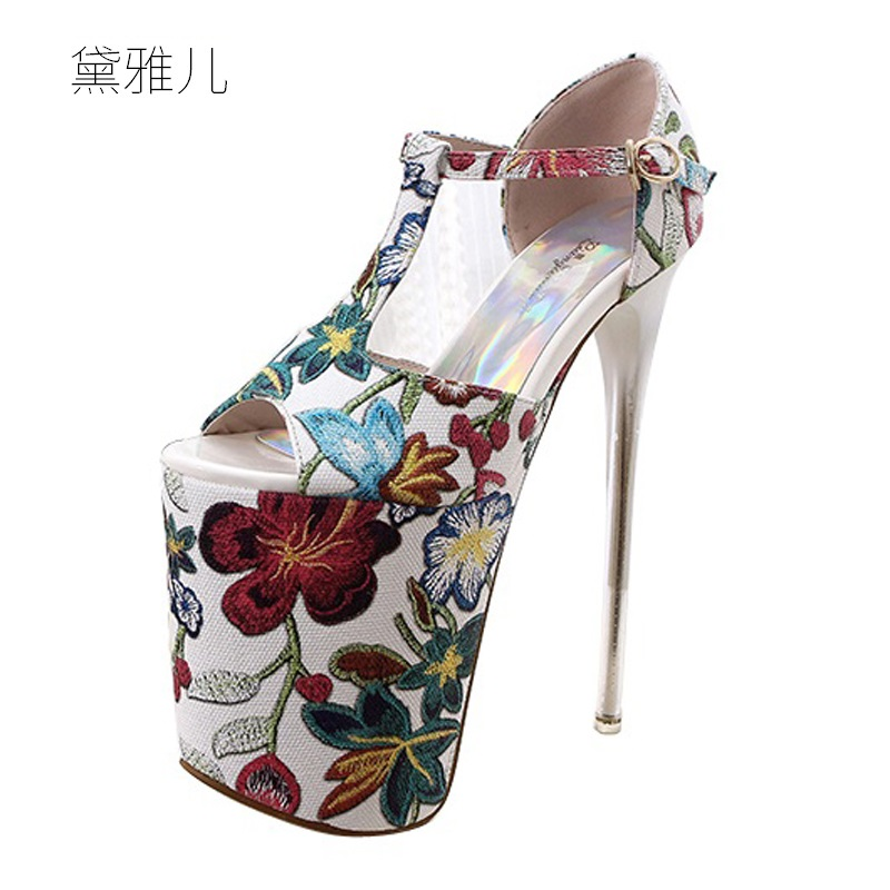 2018 Plus Size 34-43 Summer Style Flowers Sexy Ultra High Platform Heels Sandals for Women's with Shoes Woman Wedding Ladies 2018 plus size 40 50 summer style fashion red sexy high heels for sandals women s with female shoes woman wedding ladies black