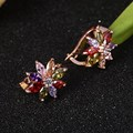 1 Pair Low Price Promotion Multicolor Flower Cubic Zircon Gold Plated Plated Stud Earrings for Women Brincos