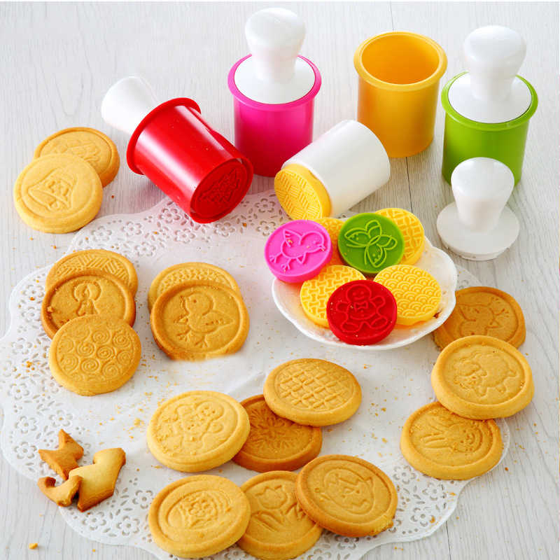 Silicone Cookie Cutter Stamp Bricolage Pâtisserie Gâteau Cookie Moules Joint Avec Manche En Bois Moules Silicone Biscuit Timbre Joint Moule