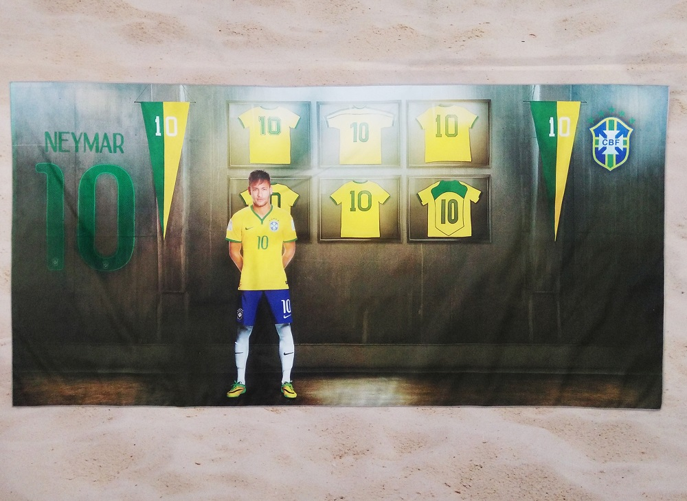 Free Shipping NEYMAR Sports Soccer Towel Sun Tippet Gift Travel Swimming Surfing Diving Towel 140x70cm 100x50cm