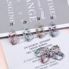 10Pcs/Lot New Arrival 13*23mm Rubber Lacquer Hollow Face Charms Connector Diy Jewelry Findings Earrings Accessories Wholesale