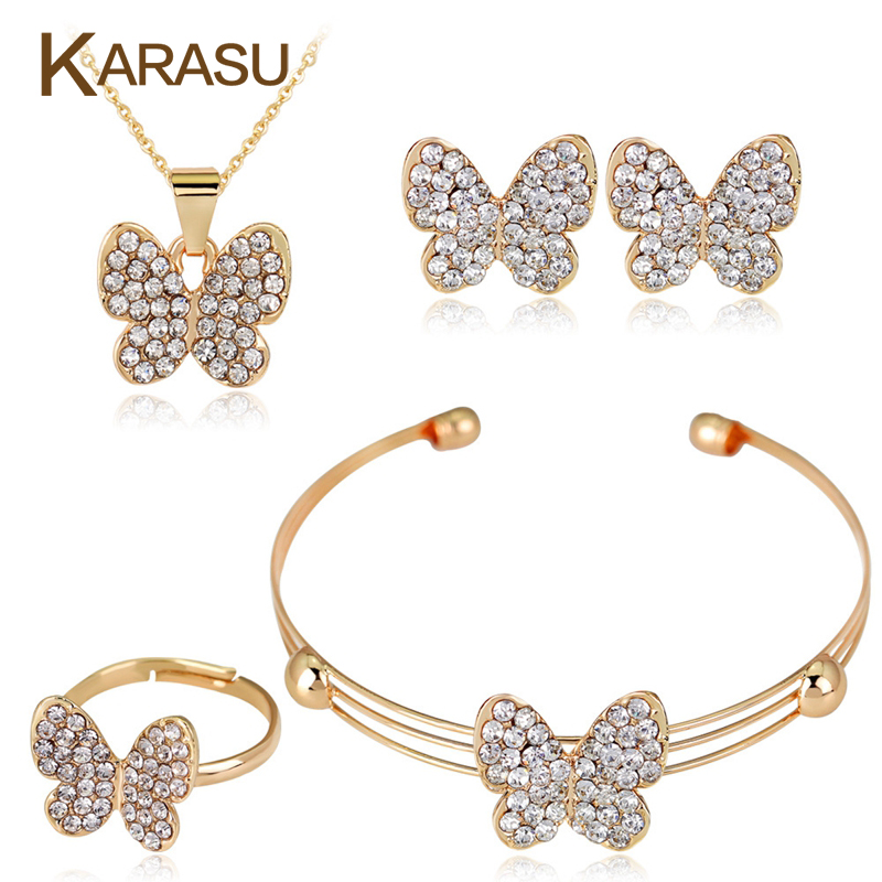Cute Butterfly Girls Kids Jewelry Sets 4pcs Set Fashion Crystal Rhinestones Children Bracelet Necklace Earrings Jewelry Set