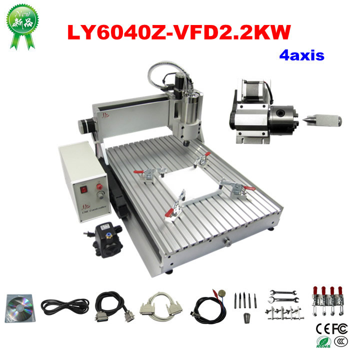 cnc router 6040Z-VFD2.2KW 4axis engraving machine mini cnc milling machine,tested well woodworking cnc 5axis a aixs rotary axis t chuck type for cnc router cnc milling machine best quality
