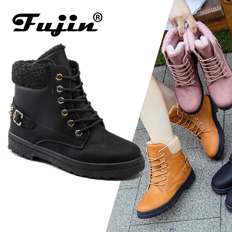 FUJIN Women Ankle Boots Winter Plush Warm Women Shoes 11.11 Lace Leather Female Round Toe Boots Comfortable for Women Shoes