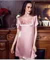 New Summer Short-sleeved Silk Nightgowns Sexy Silk Lingerie Lace Silk Nightgown Sleepwear Women Night Dress Sexy Lingerie T322