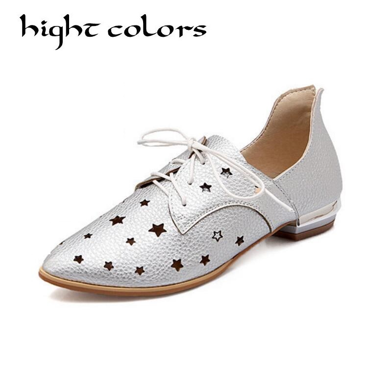 New Style EUR Size 34-48 Womens Fashion Cutout Lace Up Pointy Toe Flat Casual Shoes Summer Oxford Shoes For Women Zapatos Mujer casual waterproof boot silicone shoes cover w reflective tape for men black eur size 44 pair