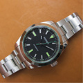 Механические Мужские часы PARNIS  40 мм  с белым циферблатом  нержавеющая сталь  Miyota 8215