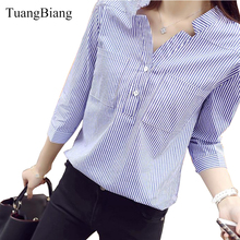 2018 New Spring Three Quarter Sleeve Stand Collar Shirt Women Blue And White Striped Loose Plus Size Blouse Female Vintage Tops